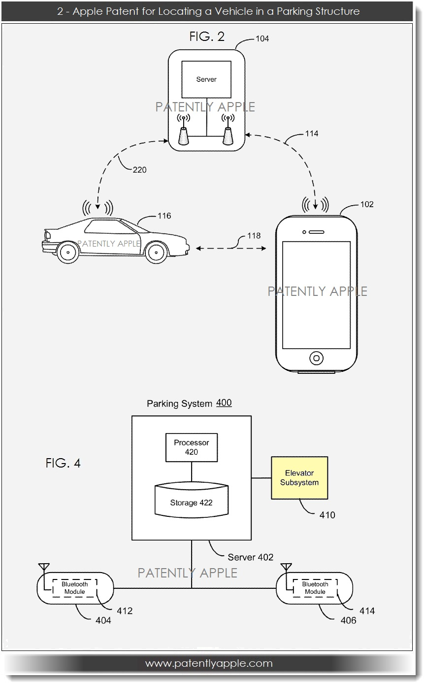 hight resolution of apple patent filing for locating a vehicle in a parking structure