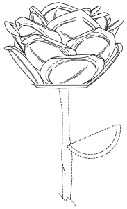 Illustration of a metal rose from a design patent