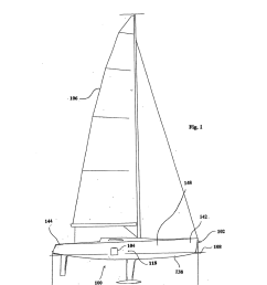 monohull sailing vessel having a lifting hydrofoil diagram schematic and image 02 [ 1024 x 1320 Pixel ]