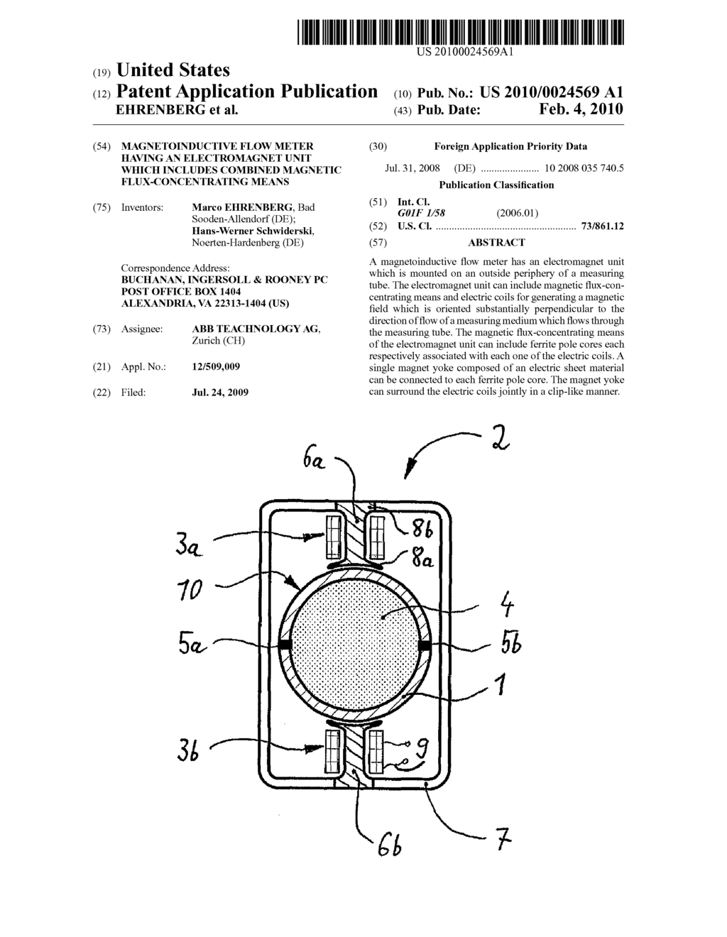 hight resolution of magnetoinductive flow meter having an electromagnet unit which includes combined magnetic flux concentrating means diagram schematic and image 01