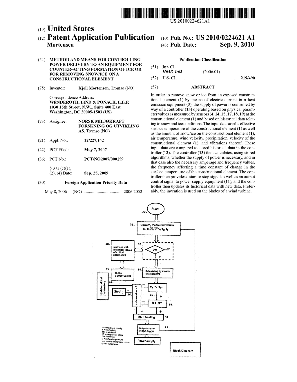 hight resolution of method and means for controlling power delivery to an equipment for counter acting formation of ice or for removing snow ice on a constructional element