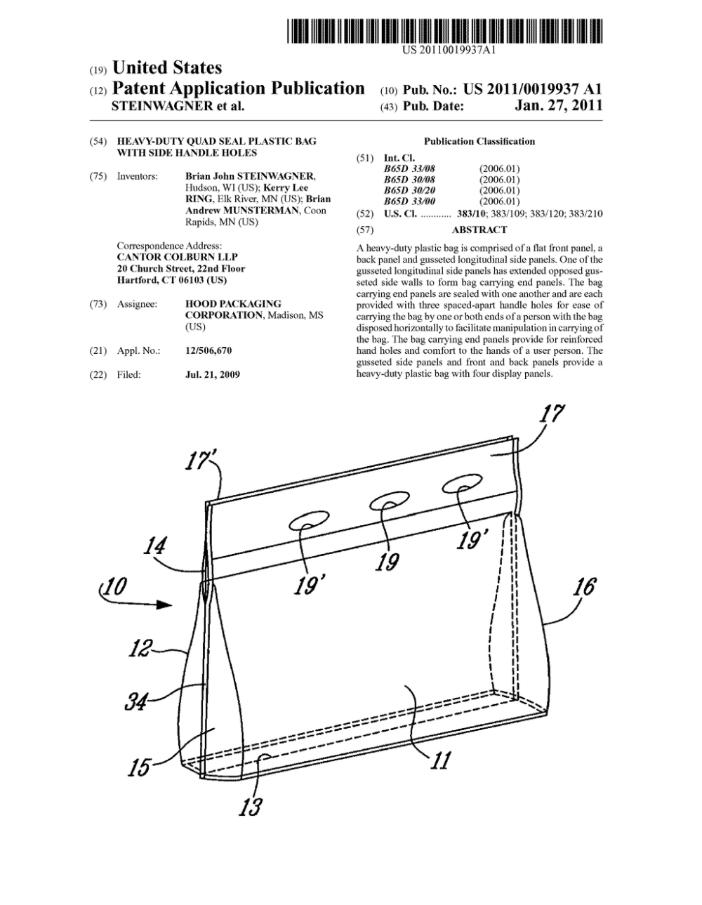 medium resolution of heavy duty quad seal plastic bag with side handle holes diagram schematic and image 01