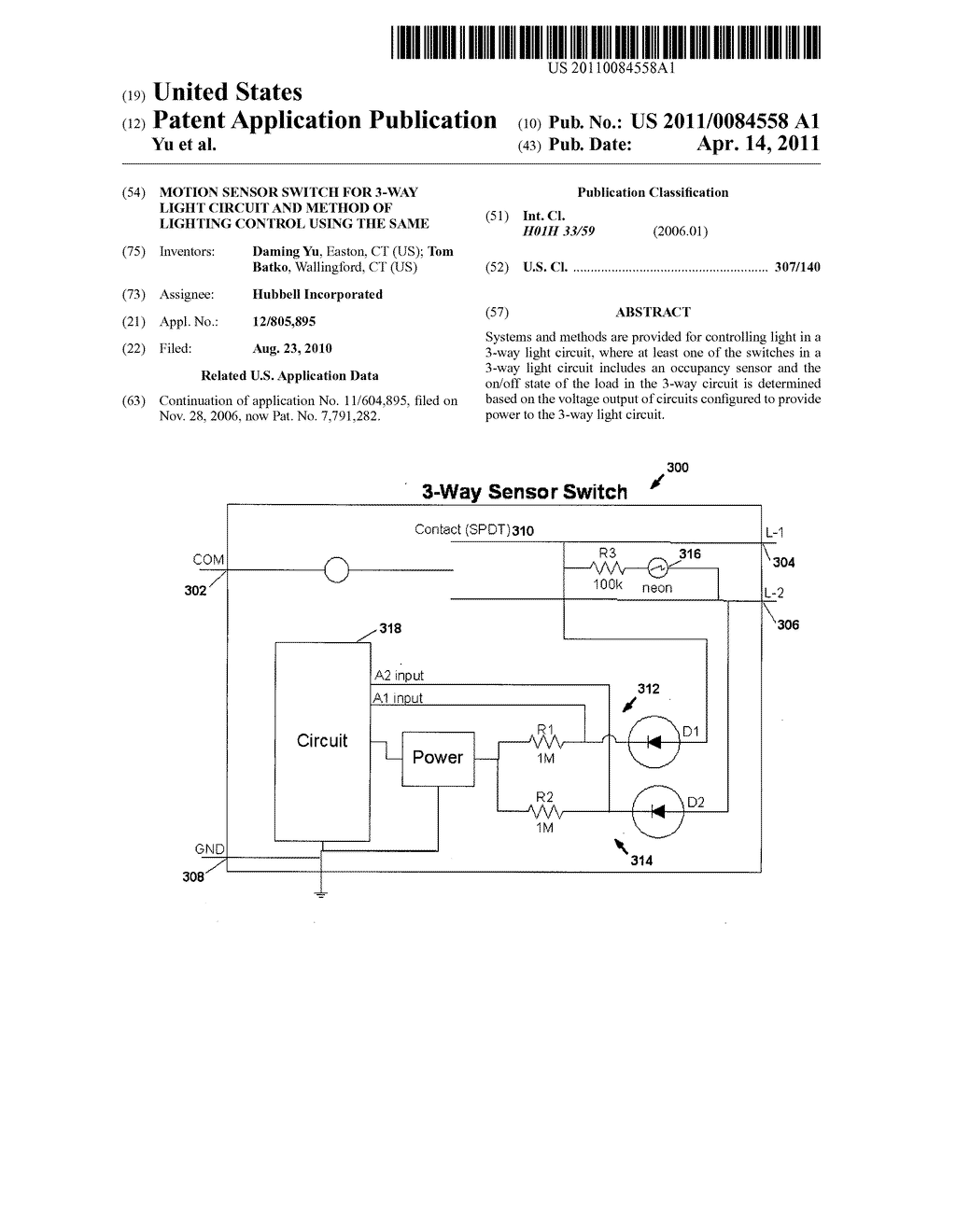 hight resolution of motion sensor switch for 3 way light circuit and method of lighting control using the same diagram schematic and image 01