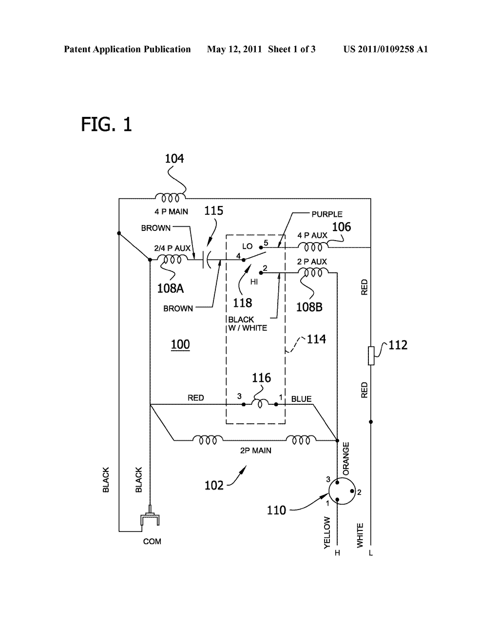 hight resolution of 2 speed 2 4 pole psc psc motor with independent main windings and shared auxiliary winding diagram schematic and image 02