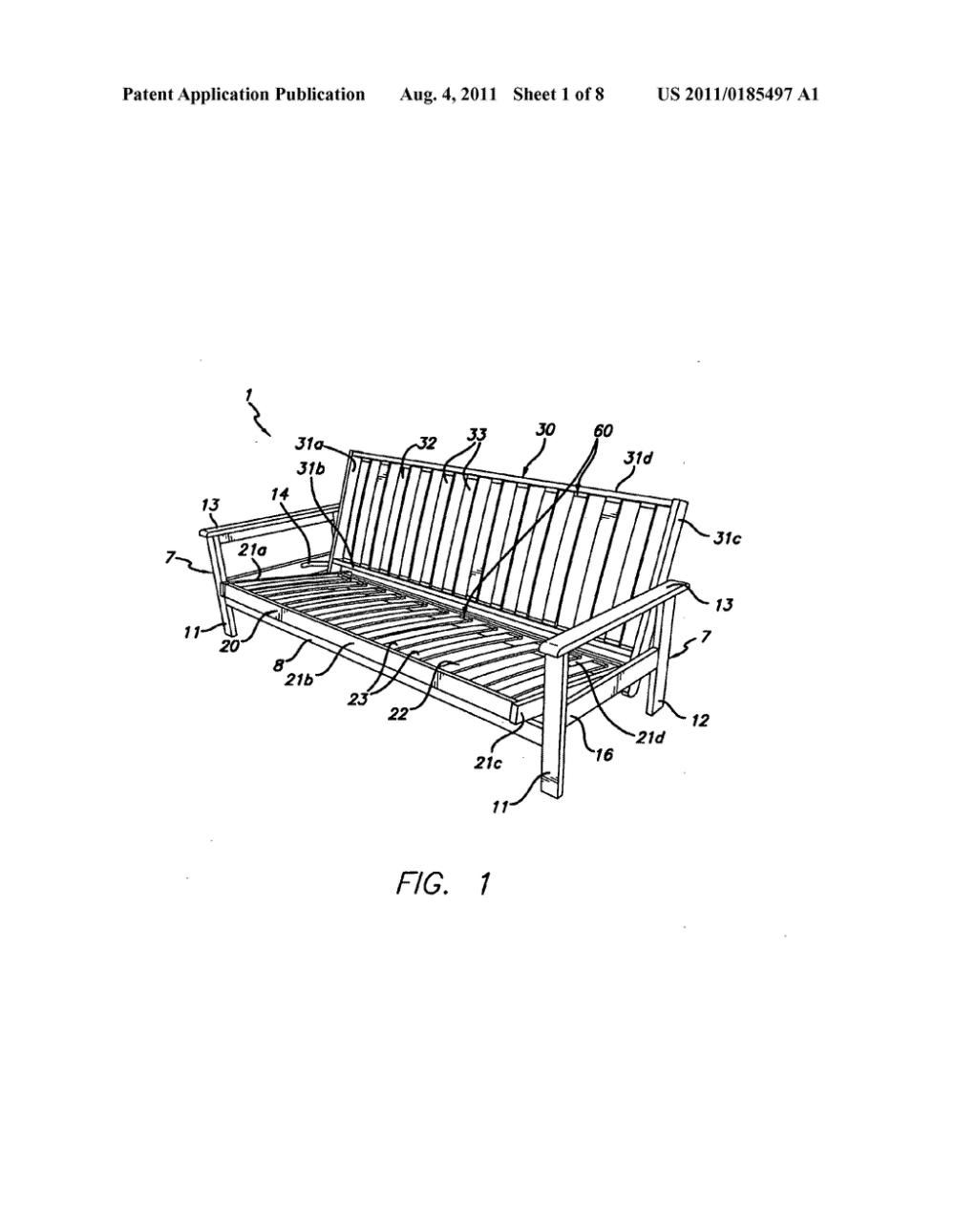medium resolution of frames for futon sofa beds and methods of securing slats therein diagram schematic and image 02