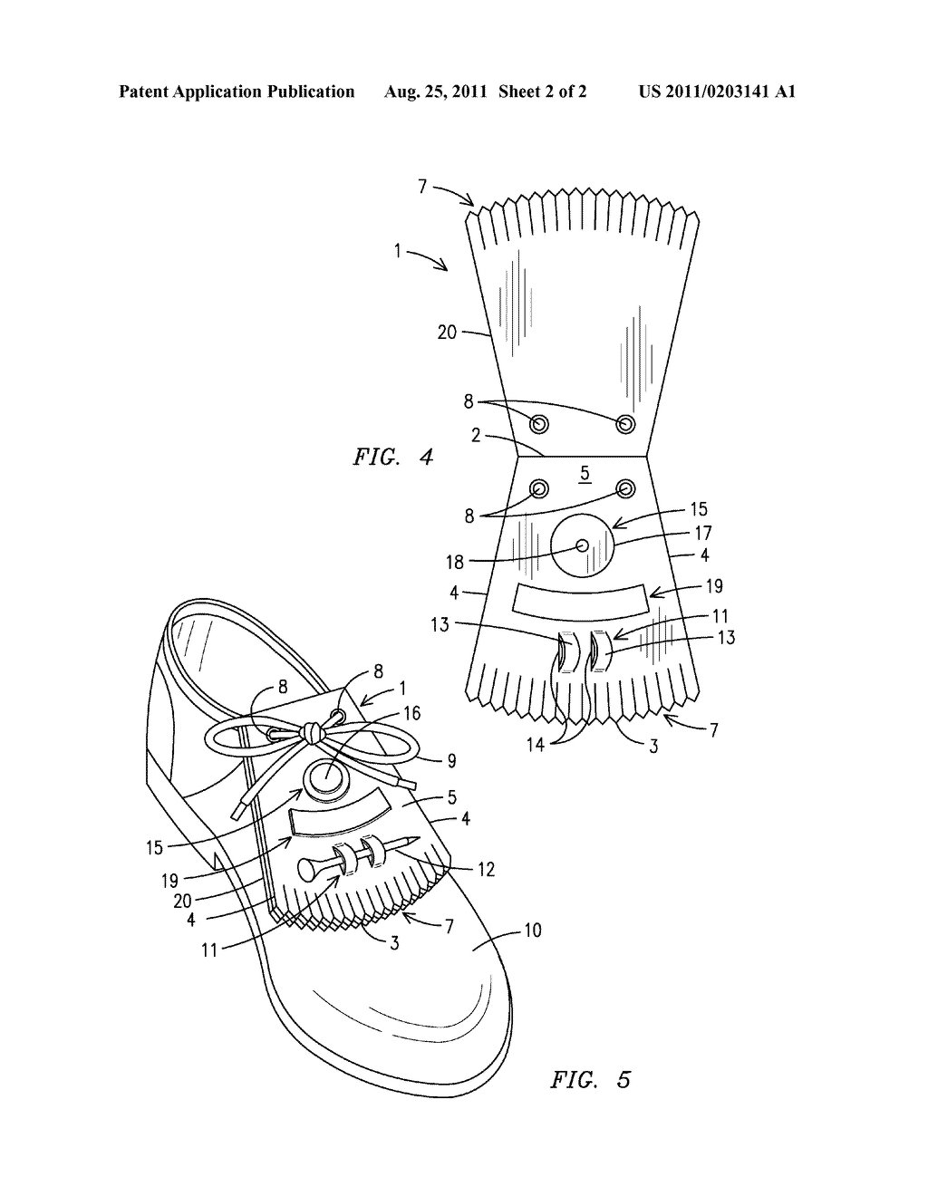 hight resolution of shoe lace flap with golfing accessory holders diagram schematic and image 03