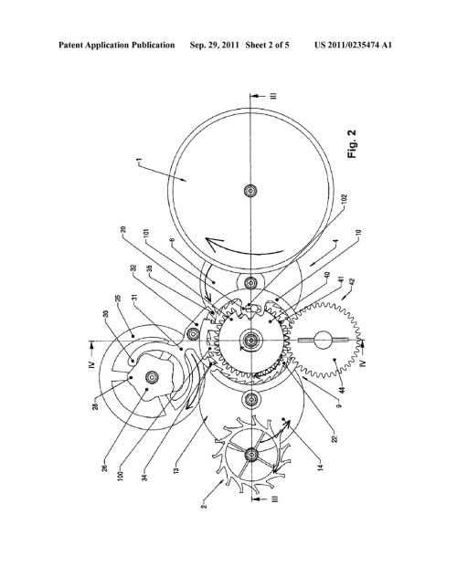 small resolution of clock movement containing a constant force device diagram schematic and image 03