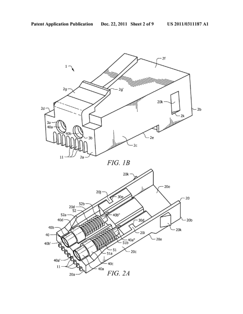 small resolution of hybrid 8p8c rj 45 modular plug configured with both optical and electrical connections for providing both optical and electrical communications capabilities