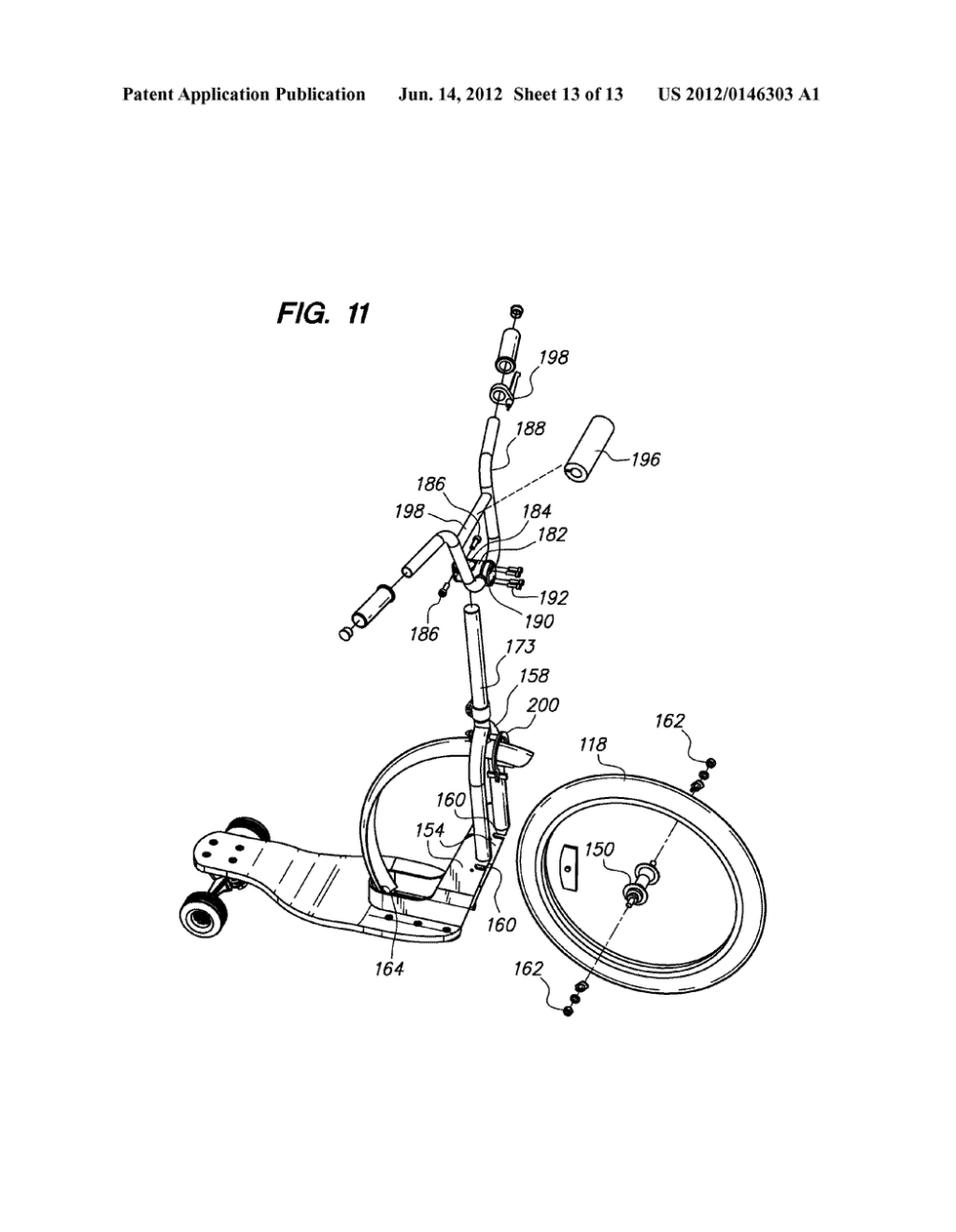 medium resolution of three wheeled scooter with rear skate truck and fixed front wheel diagram schematic and image 14
