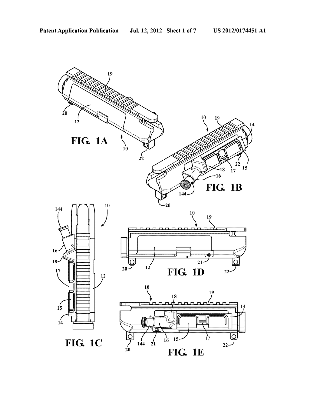 Modifiable upper receiver for m 16 ar15 type firearm in particular rh patentsencyclopedia ar 15 upper receiver parts diagram ar 15 upper receiver