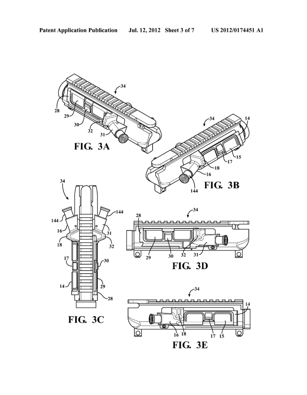 medium resolution of modifiable upper receiver for m 16 ar15 type firearm in particular for adapting to specific needs of right and left handed shooters diagram schematic