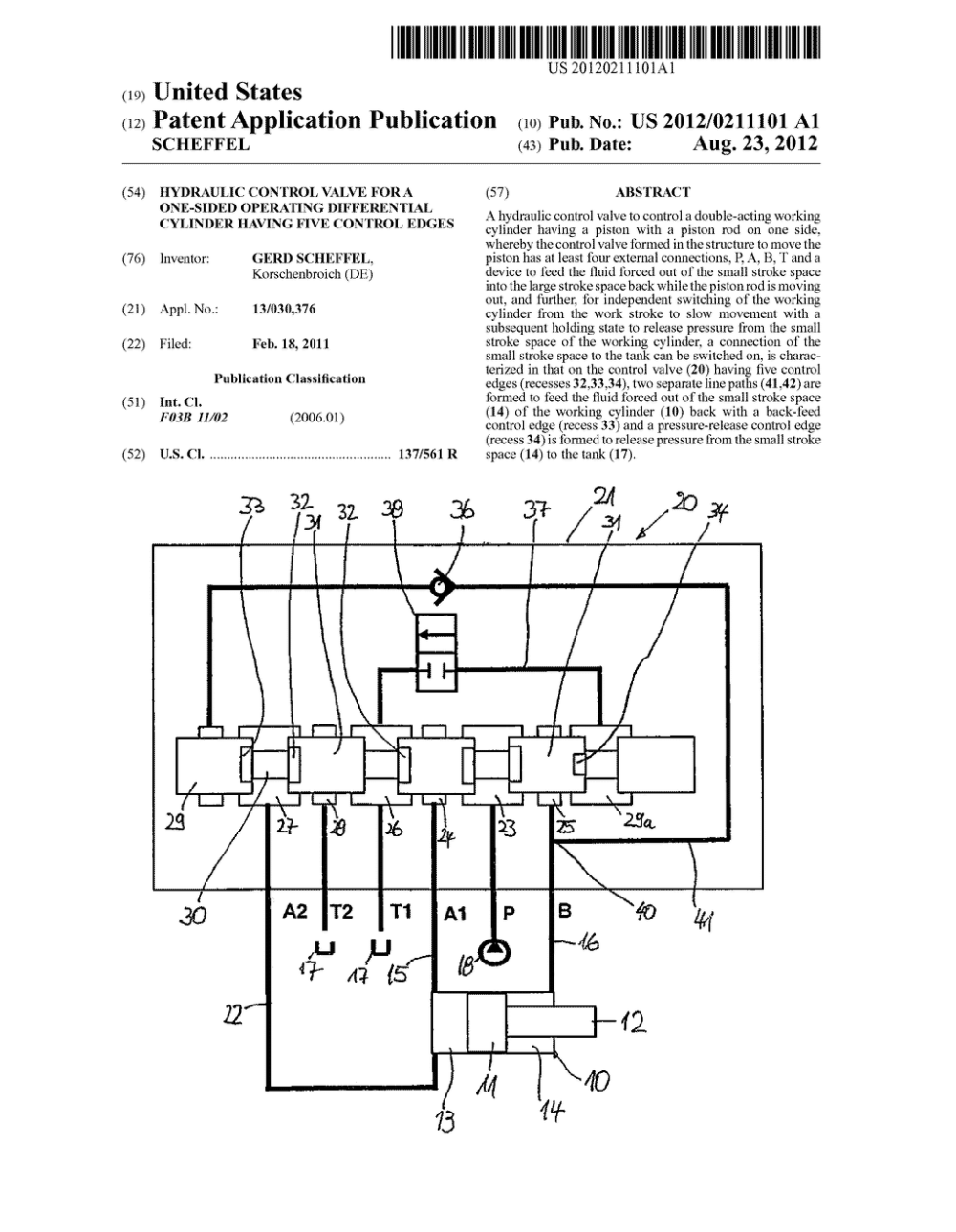 medium resolution of hydraulic control valve for a one sided operating differential cylinder having five control edges diagram schematic and image 01