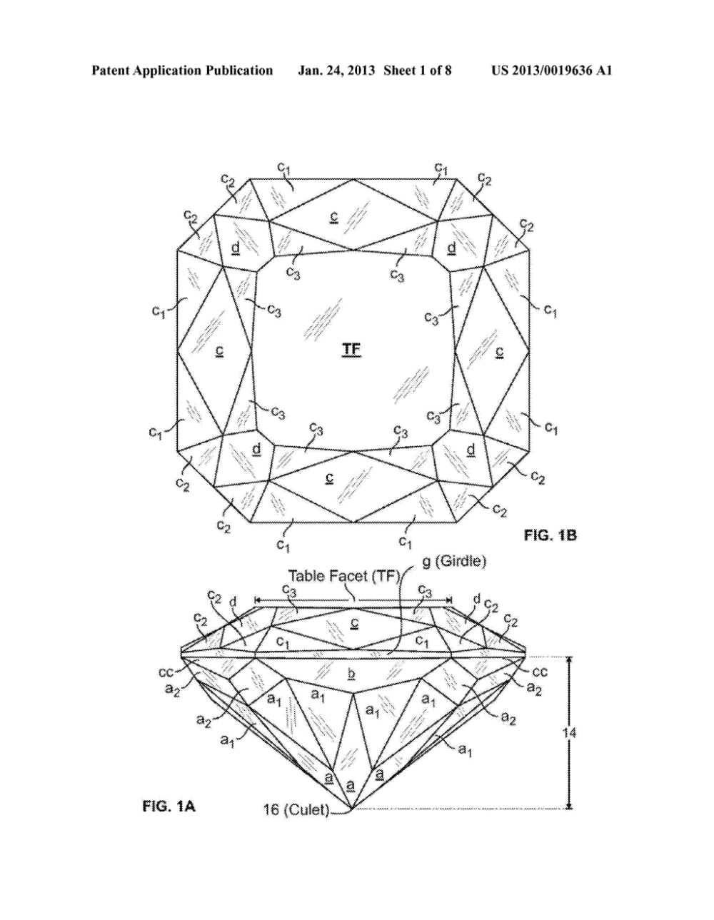 medium resolution of modified princess cut diamond having hearts and arrows pattern and method diagram schematic and image 02
