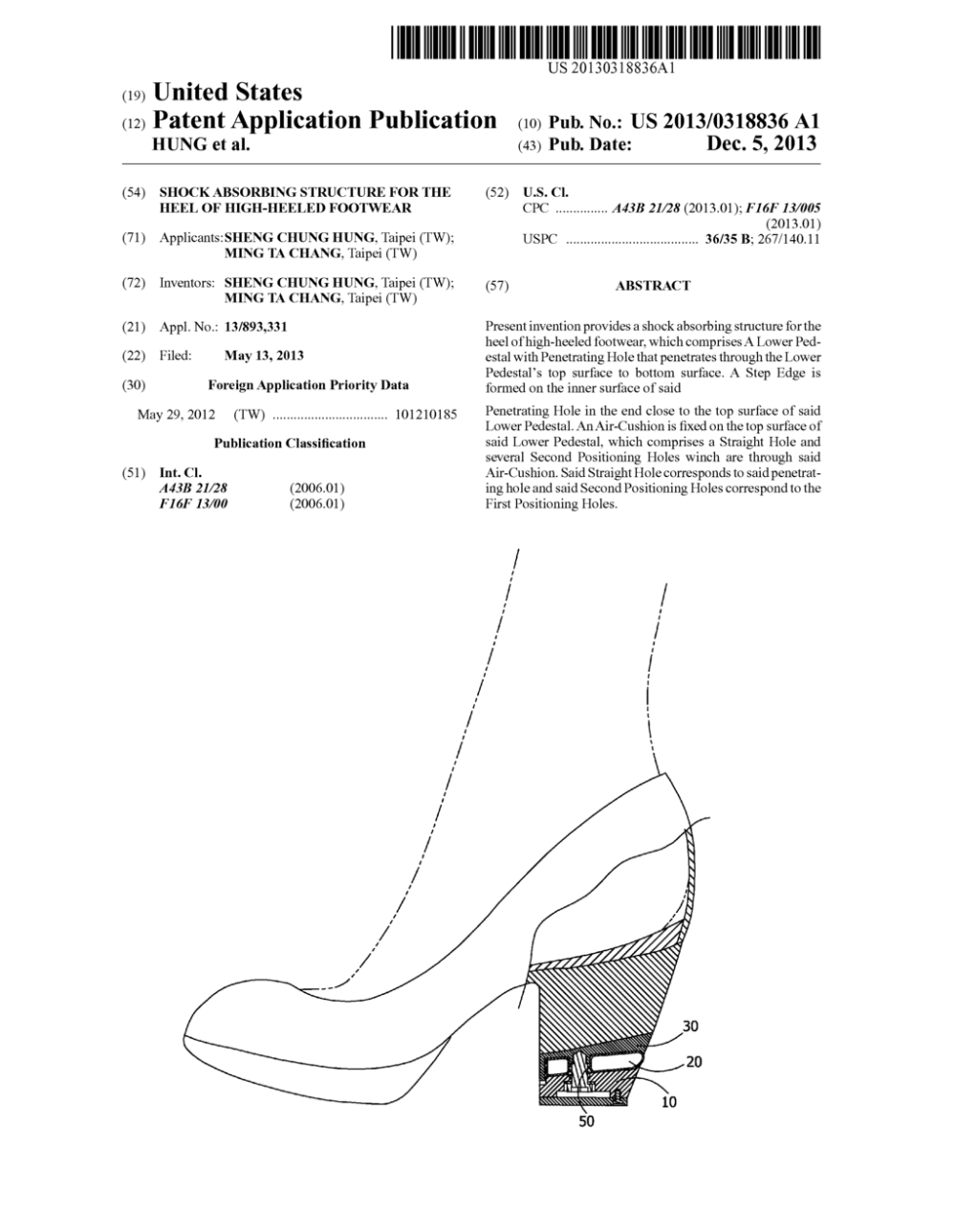 medium resolution of shock absorbing structure for the heel of high heeled footwear diagram schematic and image 01