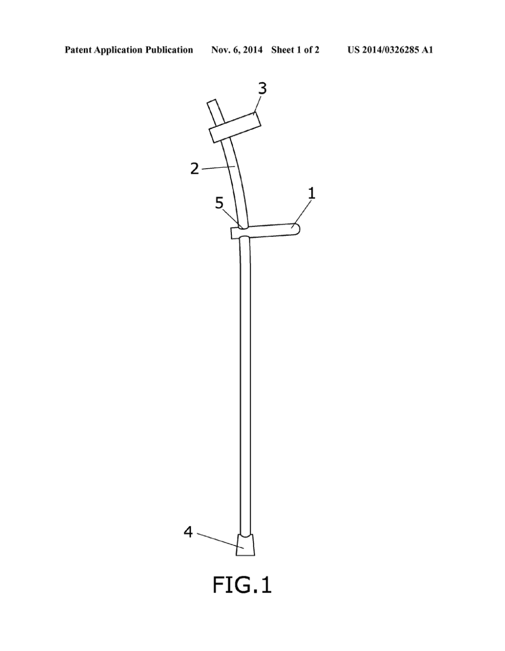 medium resolution of adjustable elbow crutch with curved arm and oval section diagram schematic and image 02