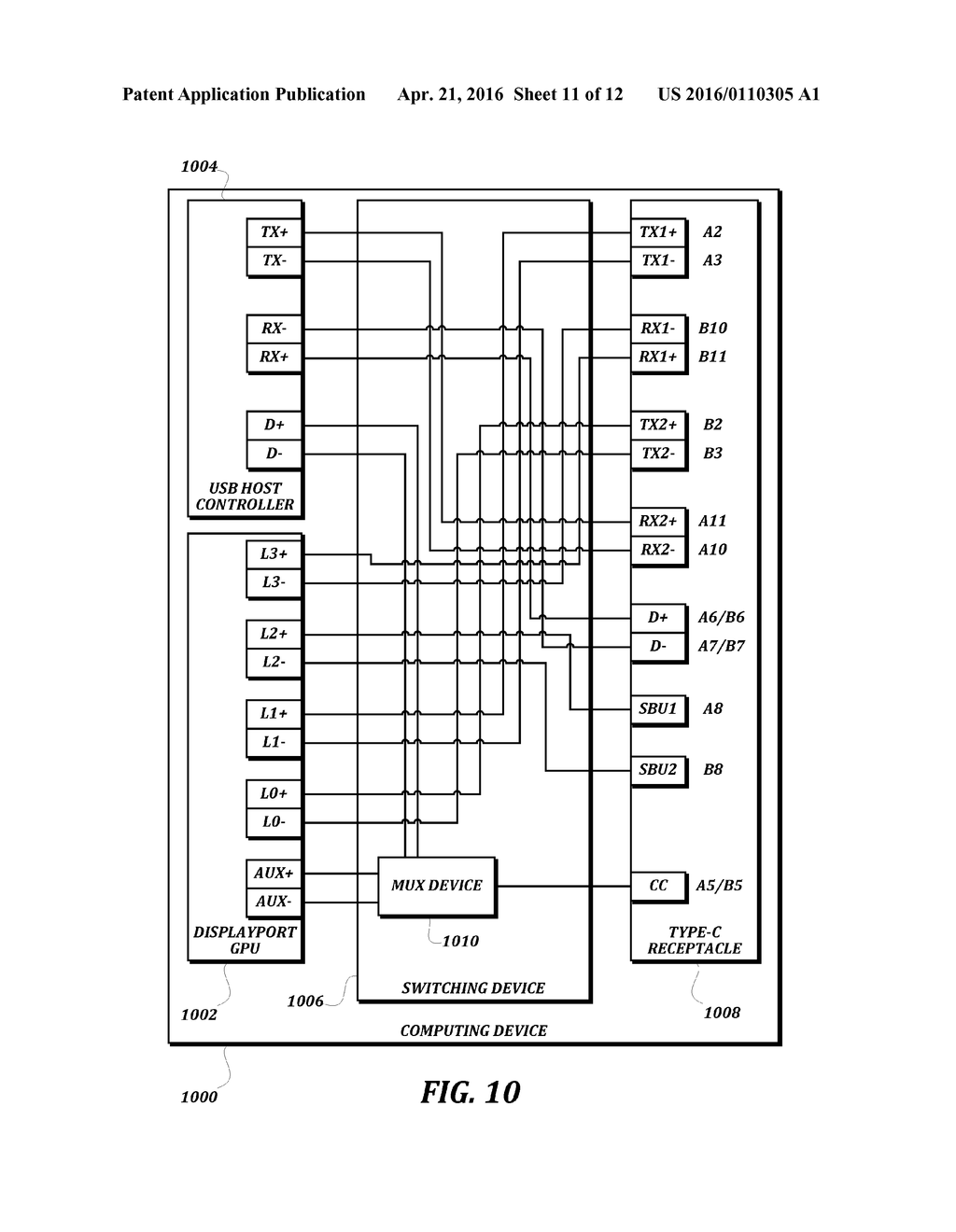 hight resolution of devices and methods for providing concurrent superspeed communication and four lane displayport communication via a usb type c receptacle diagram