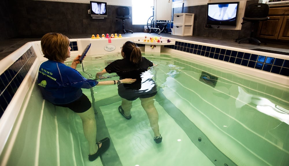 woman walking on underwater treadmill