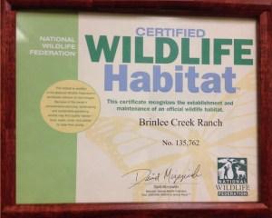 brinlee creek wildlife certificate