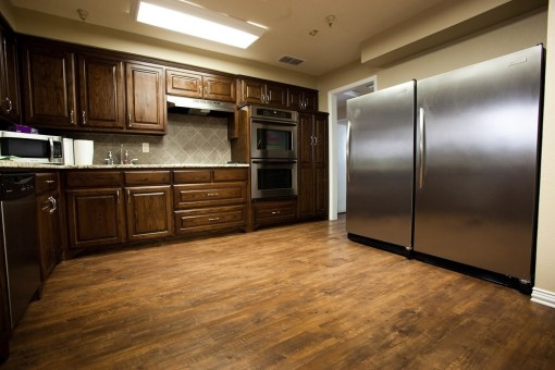 picture of stainless steel kitchen and hardwood