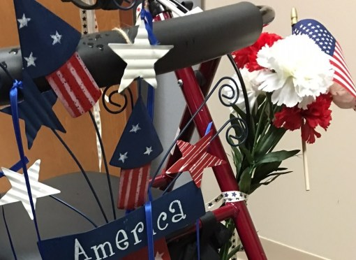 decorating medical walkers example with flags, stars and flowers