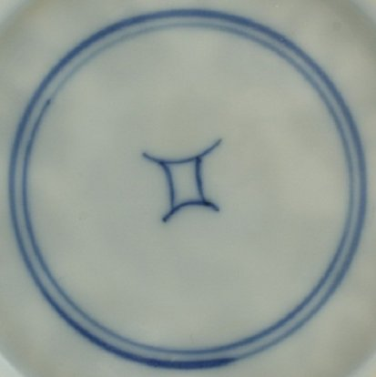 2010783 Shop mark in a double circle, underglaze blue.