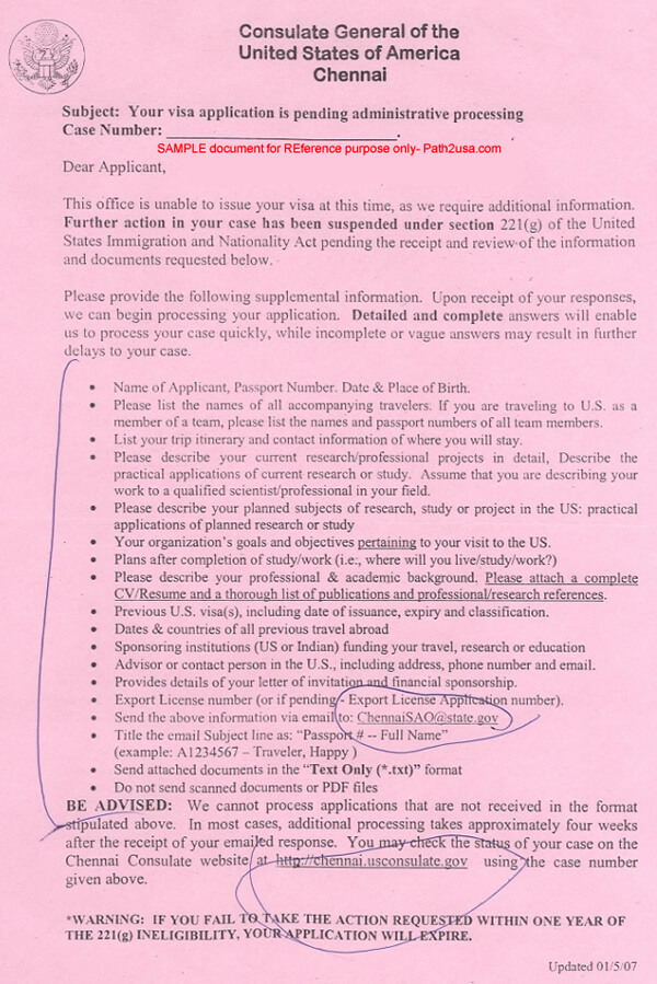 Sample 221g Form Additional Administrative Processing AAP