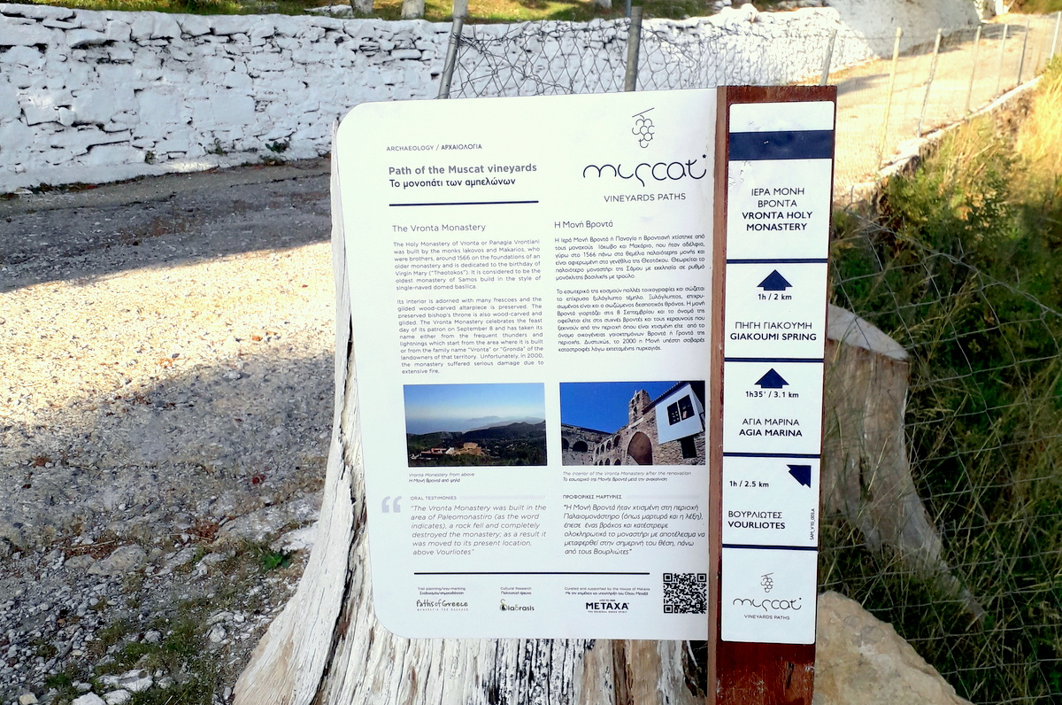 information sign path of the muscat vineyards