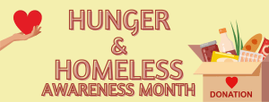 Hunger and Homeless Awareness Month - box of donations with hearts