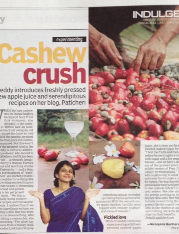 Paticheri's Cashew Crush in the Papers