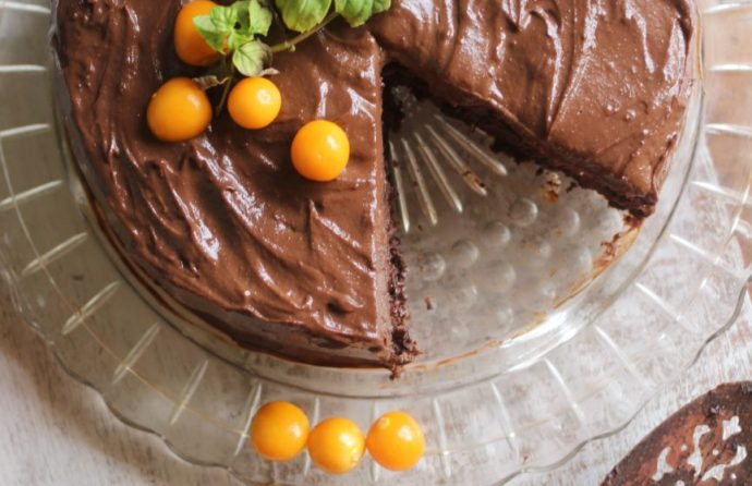 Grow your own ground cherries for a rustic Chocolate Almond Torte