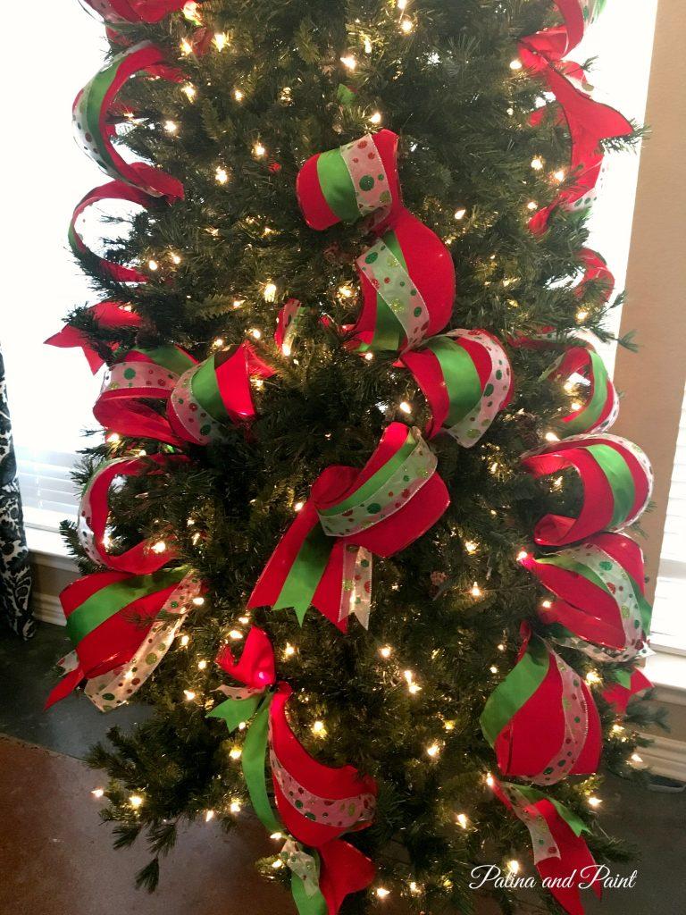 how i put ribbon on my christmas tree patina and paint - How To Put Ribbon On A Christmas Tree