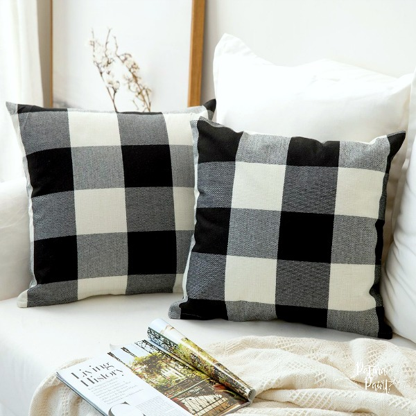 black and white buffalo check throw pillows