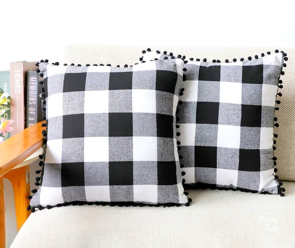 black and white buffalo check pillows