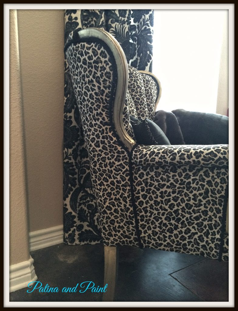 cheetah print heel chair at end of bed chairs patina and paint
