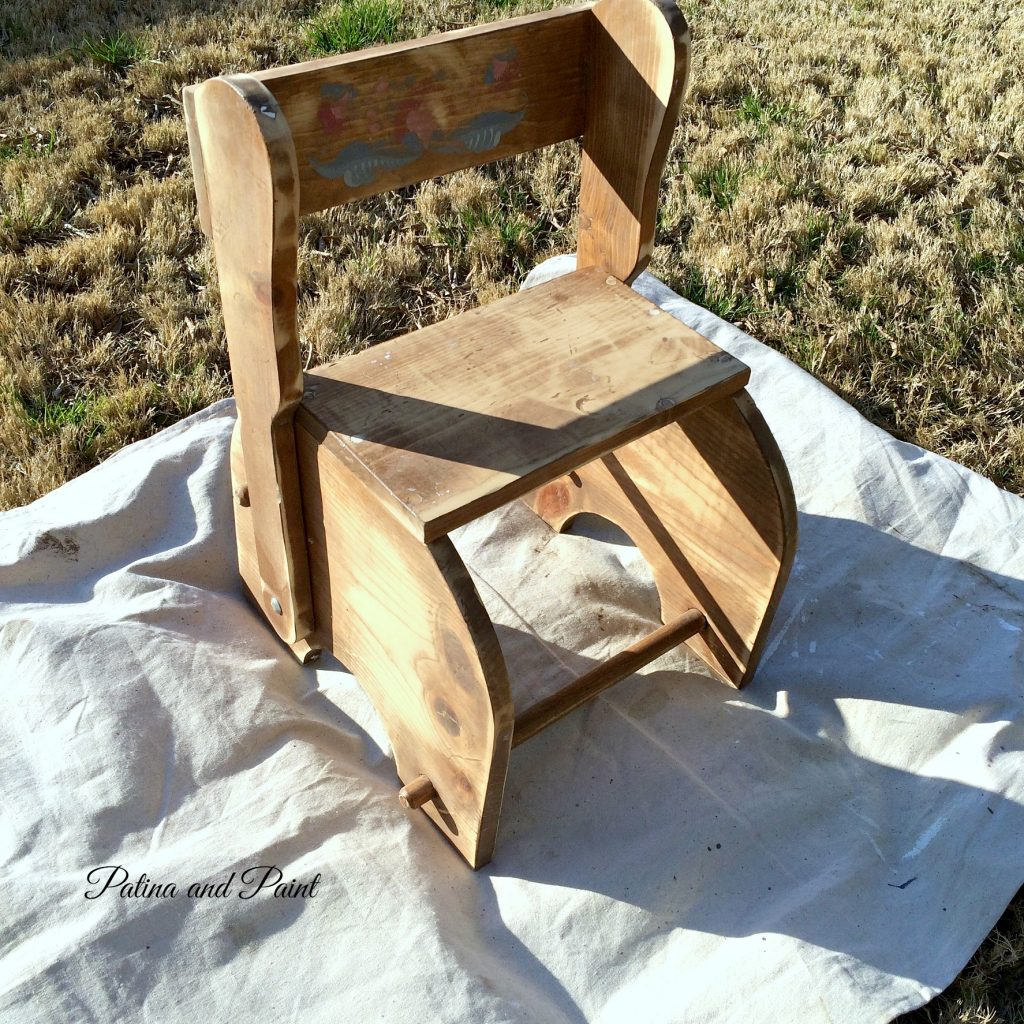 Kids Chair and Step Stool Patina and Paint