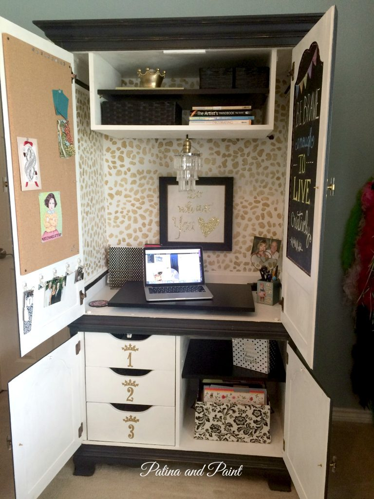 tv armoire becomes an office - patina and paint