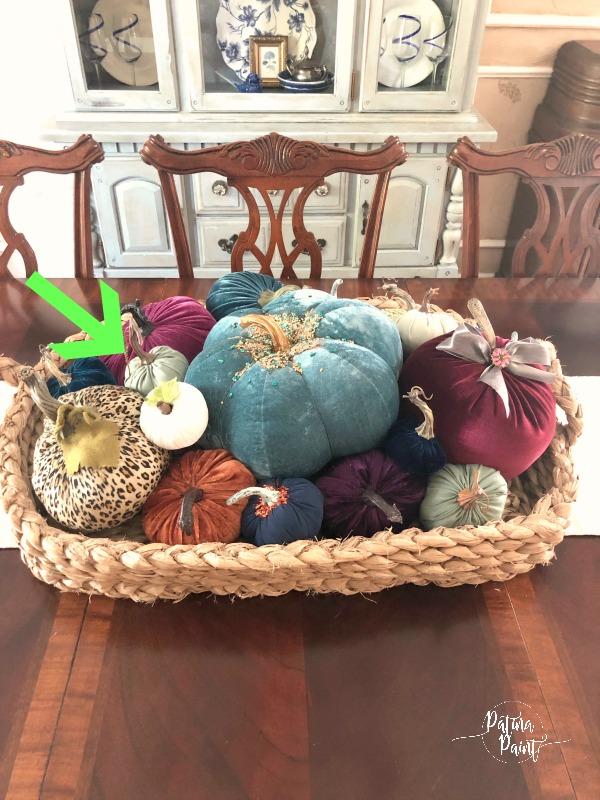velvet pumpkins, basket
