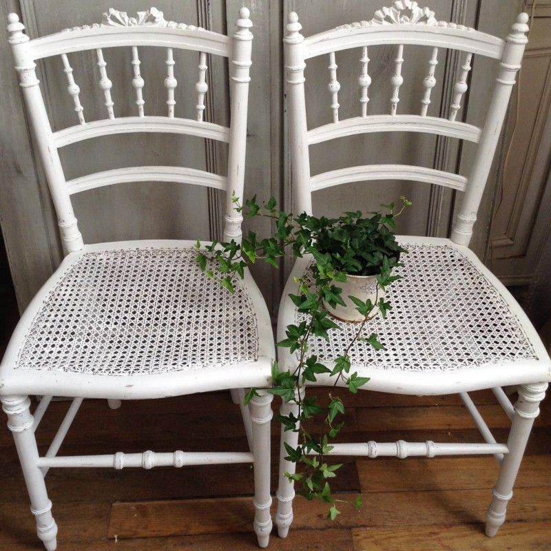 Chaise Style Louis XVI Patine Lancienne Blanche Assise