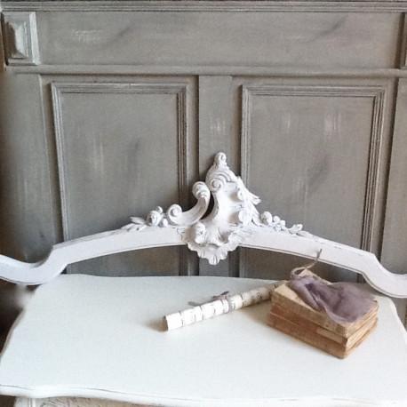 Fronton Ciel De Lit Ancien Patine Blanche Style Louis XV