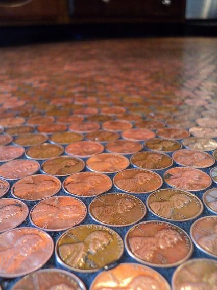How to Tile a Floor with Pennies  Patio Supply