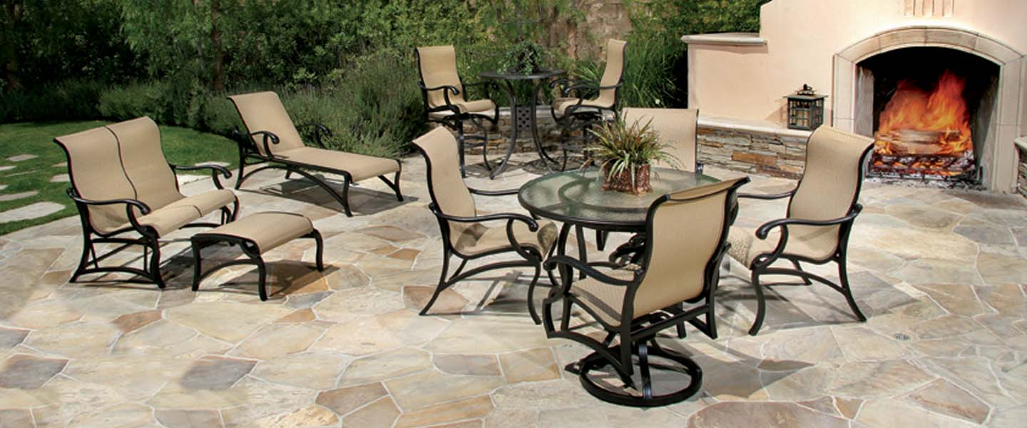 re sling patio chairs dining room set with accent volare collection by mallin