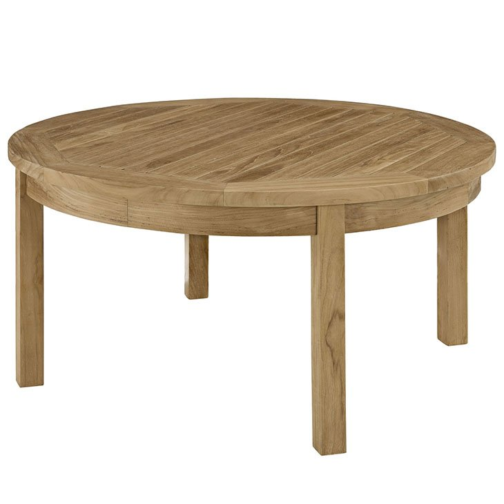 outdoor patio teak round coffee table eei 1153