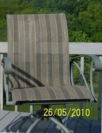 This image has an empty alt attribute; its file name is sling_replacement_patio_chair_putty_CR_b4_Michaels-1.jpg