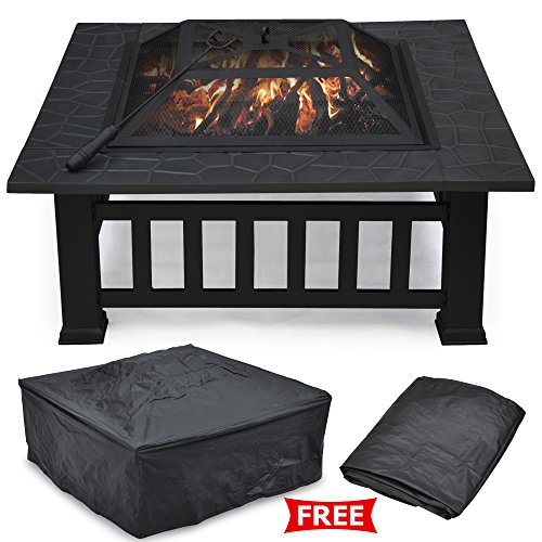 Outdoor Garden Metal Fire Pit Slate Table BBQ Round Brazier Patio Heater Stove