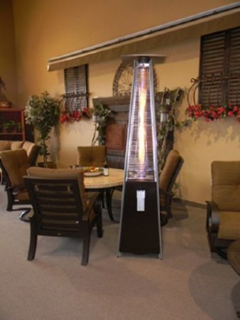Resort Model 40,000 BTU Pyramid Style Glass Tube Flame Patio Heater In Rich  Hammered Bronze