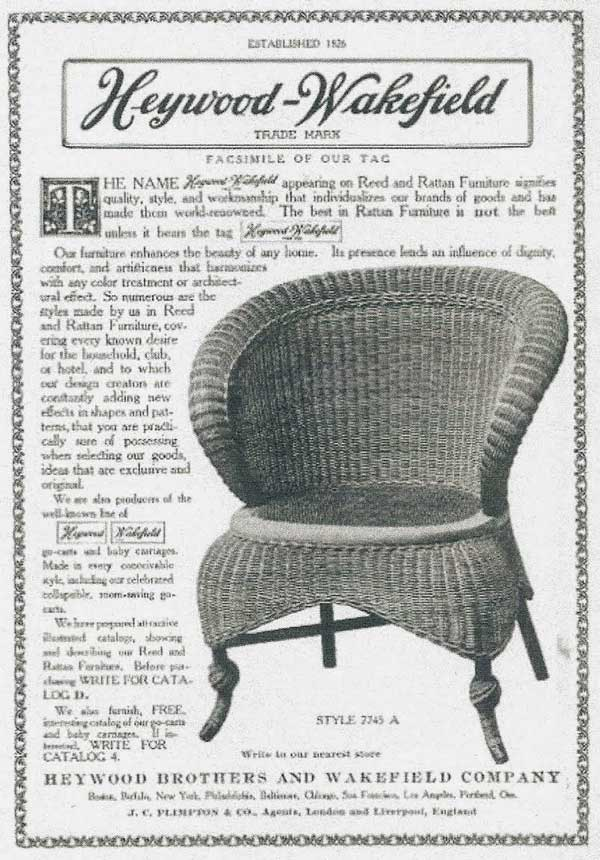 heywood wakefield wicker chairs chair stool combo tracing the trends of furniture through history rattan ad