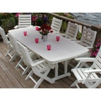 Recycled Plastic Nautical Patio Highback Dining Set 9 ...