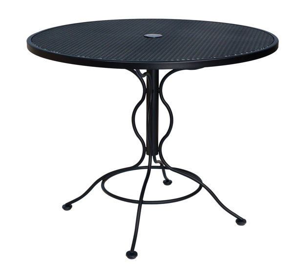 woodard mesh wrought iron 36 round bistro umbrella table