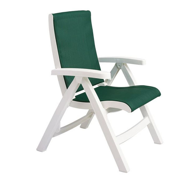 grosfillex jersey midback folding sling chair white frame in hunter green pack of 2