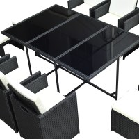 Outsunny 11 Piece Rattan Cube Space Saving Outdoor Dining ...